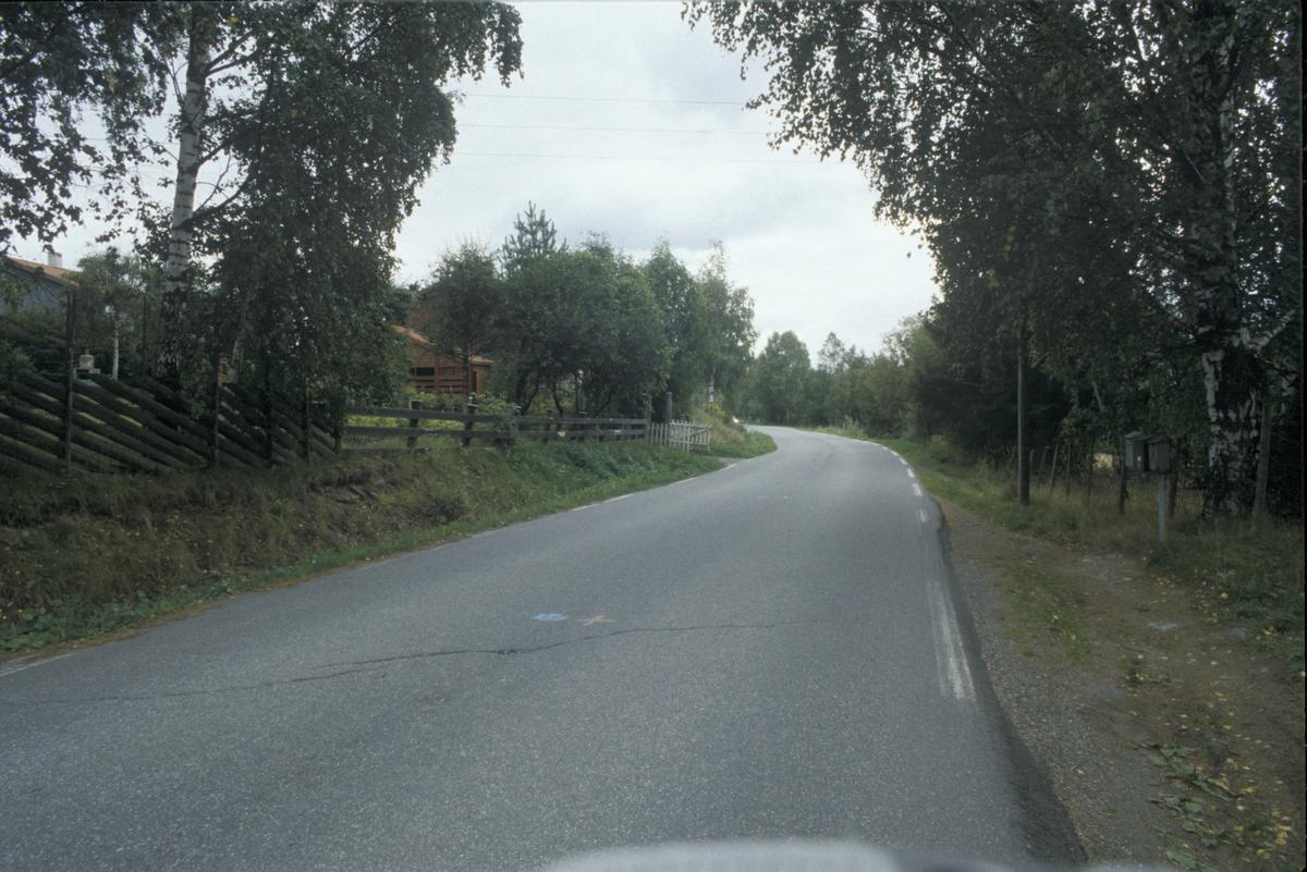 Lillehammer, Nordre Ål, Kringsjåvegen, løvskog, postkasser og bygninger.