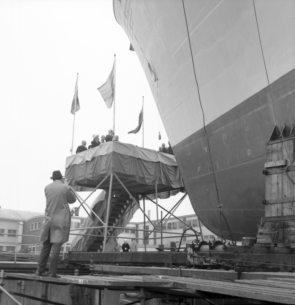 Den 2 maj 1963. Gävle Varv. Sjösättning av M/S Nova.