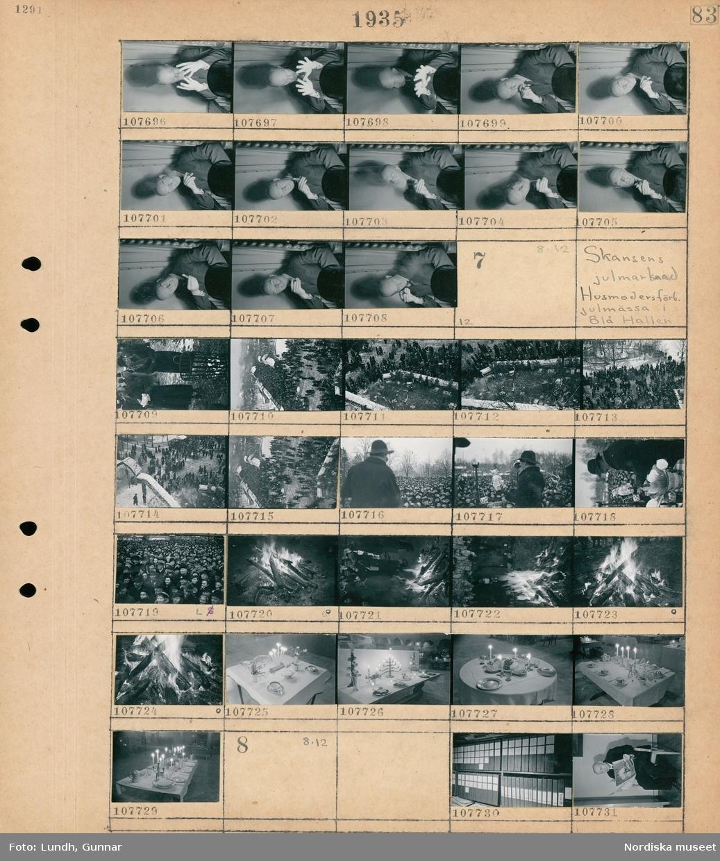 Motiv: (ingen anteckning) ; Porträtt av en man troligen fotograf Gunnar Lundh som röker cigarr och gör grimaser och gestikulerar.  Motiv: Skansens julmarknad, Husmodersförb. julmässa i Blå Hallen; Vy över en folksamling som står vid försäljningsbord, en man håller tal till en folksamling och håller upp en porslinskatt, vy över en folksamling, en eld, montrar med uppdukade bord med porslin och ljusstakar med levande ljus.  Motiv: (ingen anteckning) ; Pärmar som står i på hyllor troligen fotograf Gunnar Lundhs kontor, en man sitter på en stol och läser tidningen Frihet.