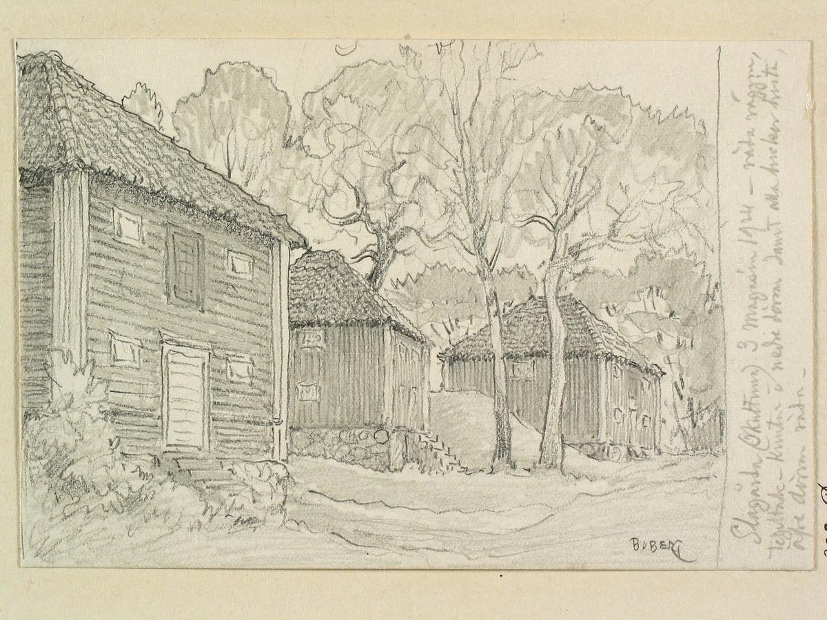 Teckning av Ferdinand Boberg. Västmanland, Tuhundra hd., Lillhärads sn., Slagårda