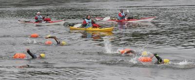 Personer som svømmer og kajakker rundt dem.. Foto/Photo