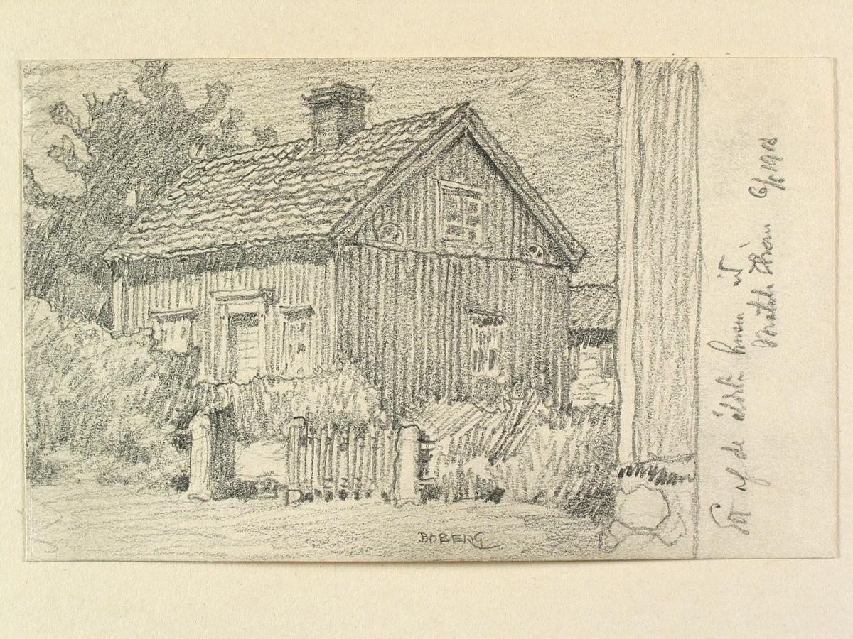 """Motala. """"Ett af de äldsta husen vid Motala Ström"""". Teckning av Ferdinand Boberg."""