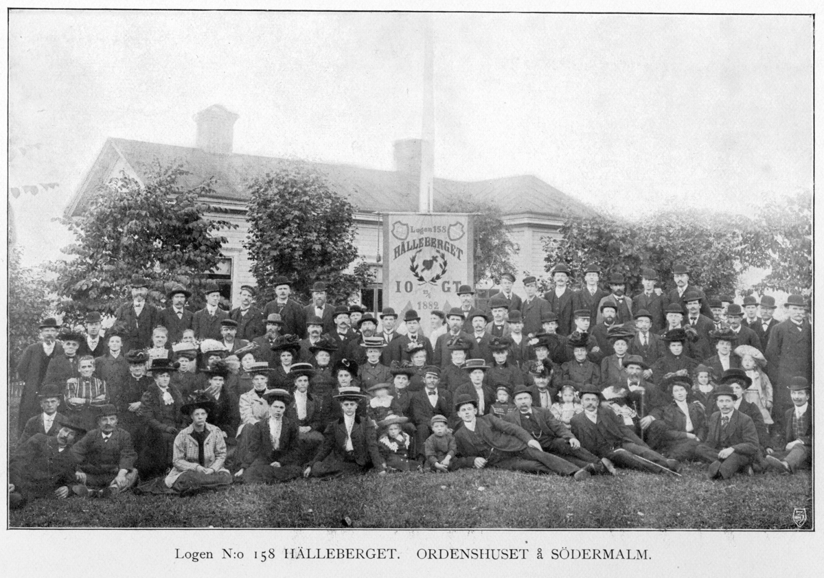 IOGT-logen 158 Hälleberget, ordenshuset å Södermalm, repro från plansch 19 i skriften Medelpads distriktloge 25 år 1885-1910 Södermalmsgatan 38. Bilden är rastrerad.