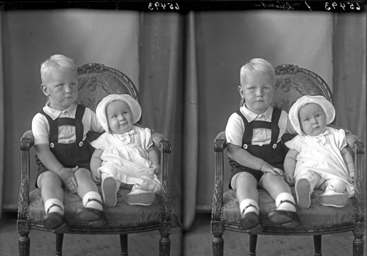 Portrett. En ung gutt og et lite barn. Bestilt av Finn Lie. Sundgt. 159.