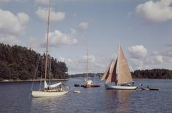 Segelbåtar i skärgårdsvik. Till h ses kustkryssaren KR-S 33
