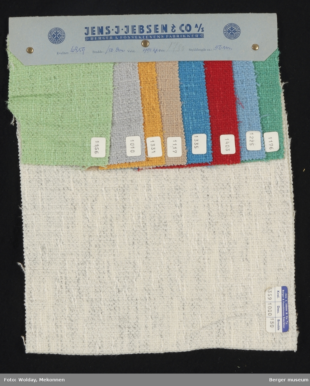 Prøvehefte med 9 prøver Kåpe Kvalitet 6359 Stykkfarget