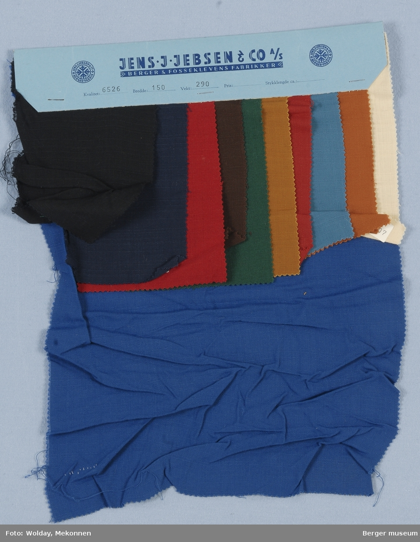 Prøvehefte med 11 prøver Kjole/skjort Kvalitet 6526 Stykkfarget