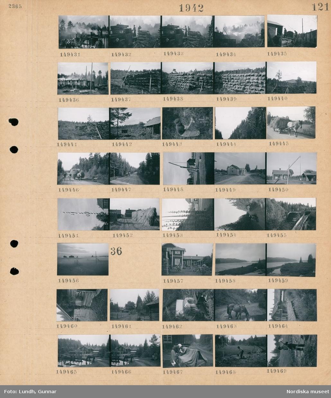 Motiv: (ingen anteckning) ; Kolning med skorstensmila, två män lastar av ved från en lastbil, en kolfabrik, en man plockar bär med en bärplockare, träd i en skog, ett hästdraget hölass, cyklister på en väg, en brunnssvängel, en buss md gengasaggregat kör på en väg, exteriör av hus, en midsommarstång, en höhässja, en bro över en älv, landskapsvy med en äng i dimma.  Motiv: (ingen anteckning) ; En kvinna med cykel med packning vid ett hus, landskapsvy med en sjö och skog, en korg hänger på väggen på ett timmrat hus, exteriör av hus, en man med en häst som dricker vatten, en kvinna med höns vid en hönsbur utomhus, en man gräver i marken med en hacka.