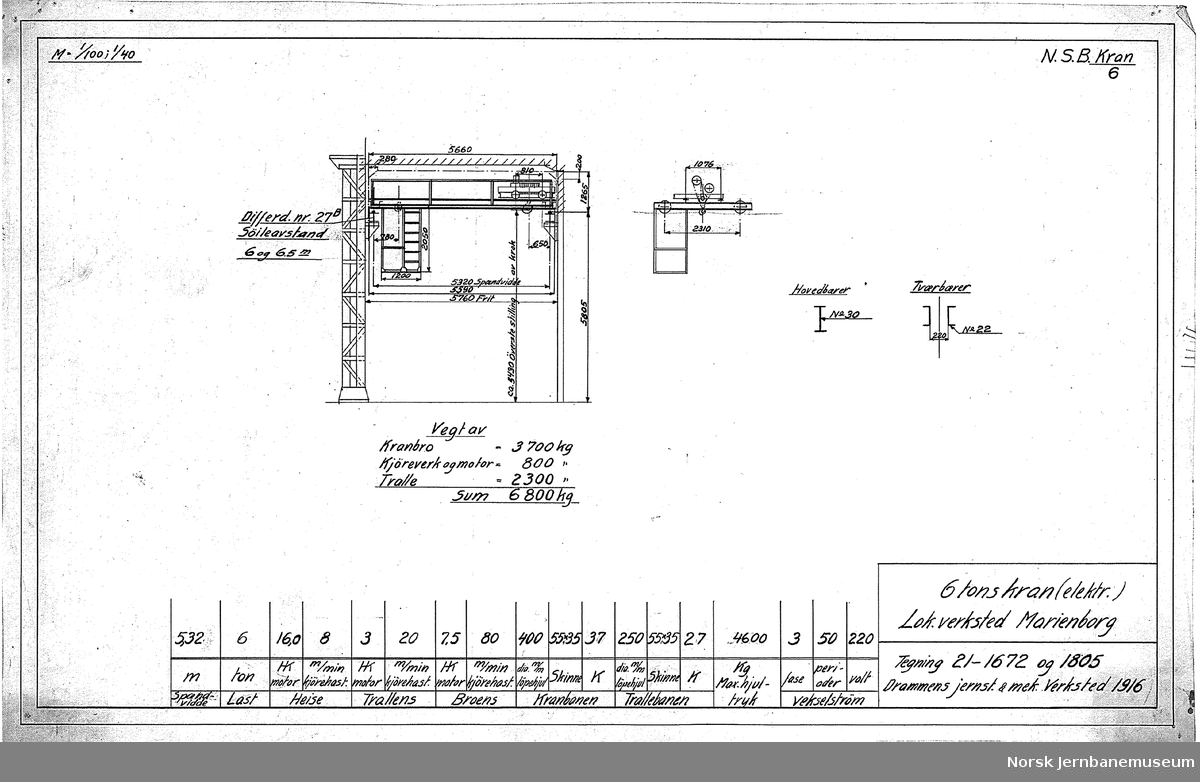 Oversiktstegninger fra NSB Verkstedkontoret 13 tegninger av kraner på jernbaneverkstedene