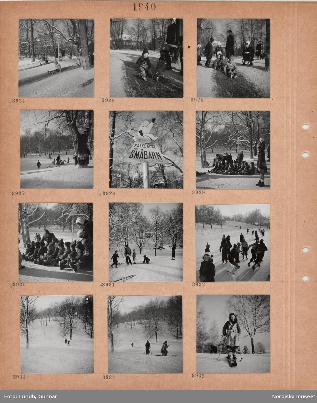 """Motiv: Park i snö, barn som åker kana, skylt med text """"Kälkbacke för småbarn – Ej sparkstöttingar"""", kvinnor som hjälper barnen, ungdomar åker skridskor, barn åker skidor i backe."""