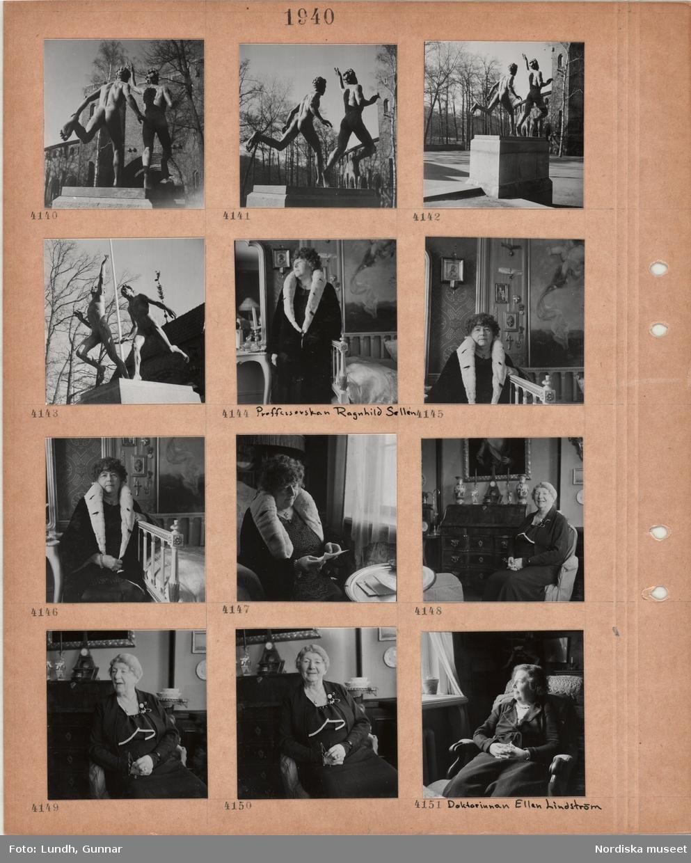 Motiv: Skulptur av två nakna springande män, Carl Eldhs Löparna, utanför Stockholms stadion, kvinna, professorskan Ragnhild Sellén, i kappa med krage av hermelinsskinn, interiör med spegel och soffa, kvinna i klänning sitter i en fåtölj, byrå, kvinna, doktorinnan Ellen Lindström, i klänning, sitter i en fåtölj vid fönster.