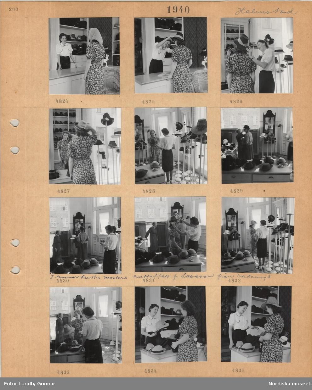 Motiv: Halmstad, i Gunnar Lundhs mosters hattaffär f. Laveson från Vadensjö, kvinna i sommarklänning och sjalett vid disk i hattaffär, expedit hjälper till med provning av hattar, speglar, köp av hatt.