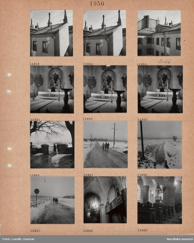 Motiv: Husfasader, tak, skorstenar, Lovö, interiör Lovö kyrka, präst vid altaret, altartavla, vapensköldar, grinden till Lovö kyrkogård, tre kvinnor går på landsväg i snöslask, dike med vatten mellan snöiga åkrar, interiör kyrka, grova kolonner, besökare i bänkar, predikstol.
