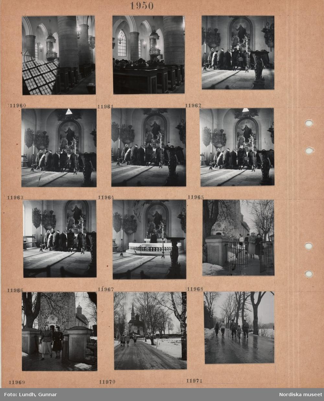 Motiv: Interiör kyrka, grova kolonner, predikstol, besökare i bänkar, interiör Lovö kyrka, nattvardsgång vid altaret, altartavla, vapensköldar, prästen står vid altaret, besökare lämnar kyrkan, grind, gående i fritidskläder på väg framför kyrkan, våt vägbana, alléträd.