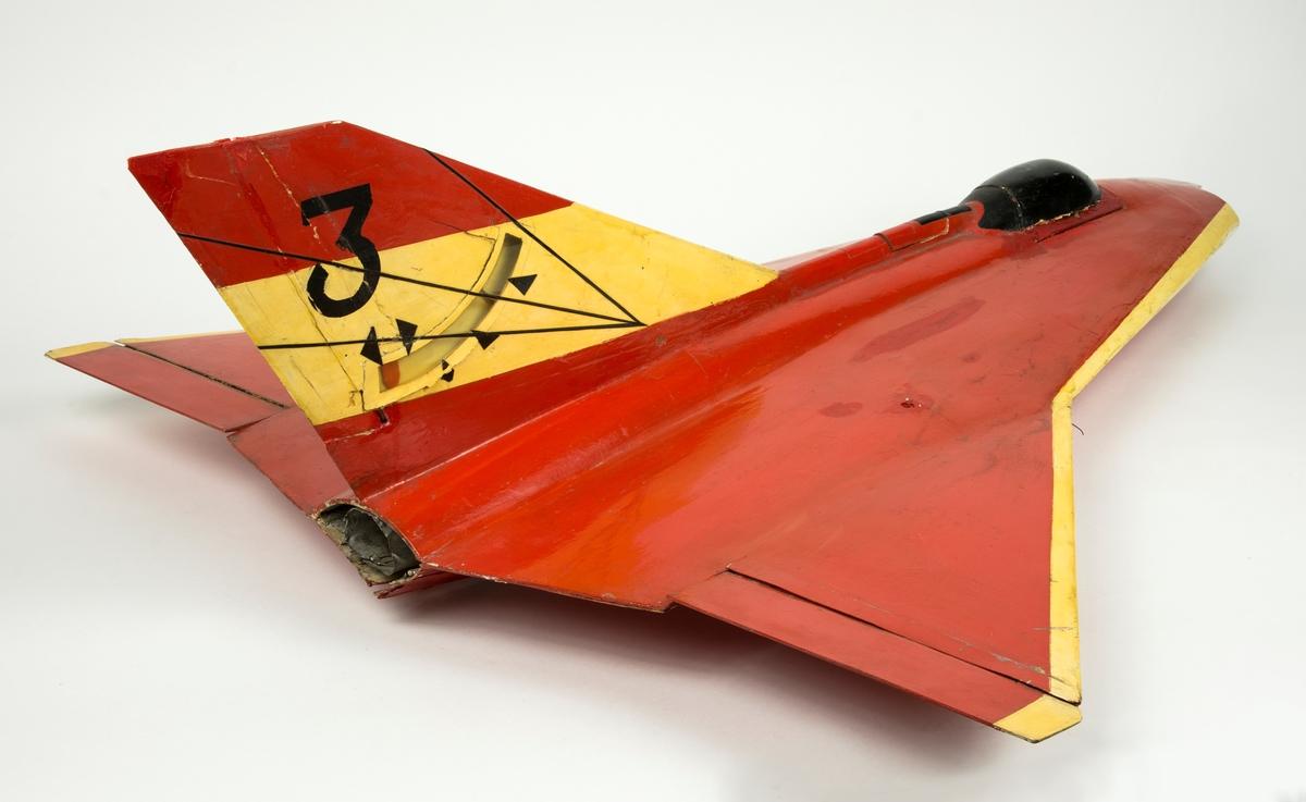 Provflygplan, swinglinemodell. Linstyrd modell av Saab Draken.