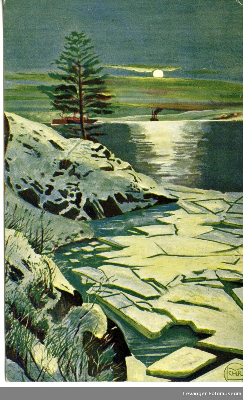 Postkort med landskaps- og vintermotiv.