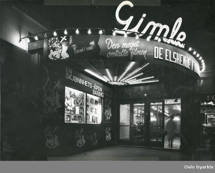 """Inngangsparti Gimle kino. Film som vises """"De elskende i Teruel"""" av Raymond Rouleau fra 1962."""
