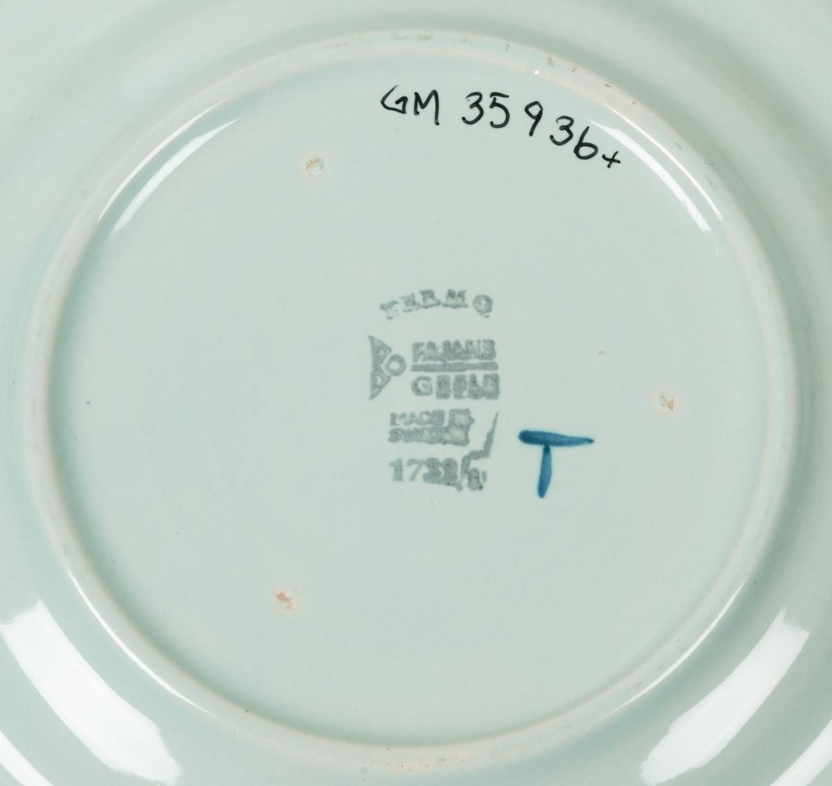 Två assietter tilverkade vid Bo Fajans i Gävle. Ljust blå bottenglasyr med handmålad tupp i mörkare blått i mitten samt en bård runt om i samma färg runt brämet. Stämplad i botten samt försett med ett handmålat T. Tillverkad 1944. Formgiven av Allan Ebeling. Termo innebär att föremålet är ungseldfast. Några småskador i kanten.
