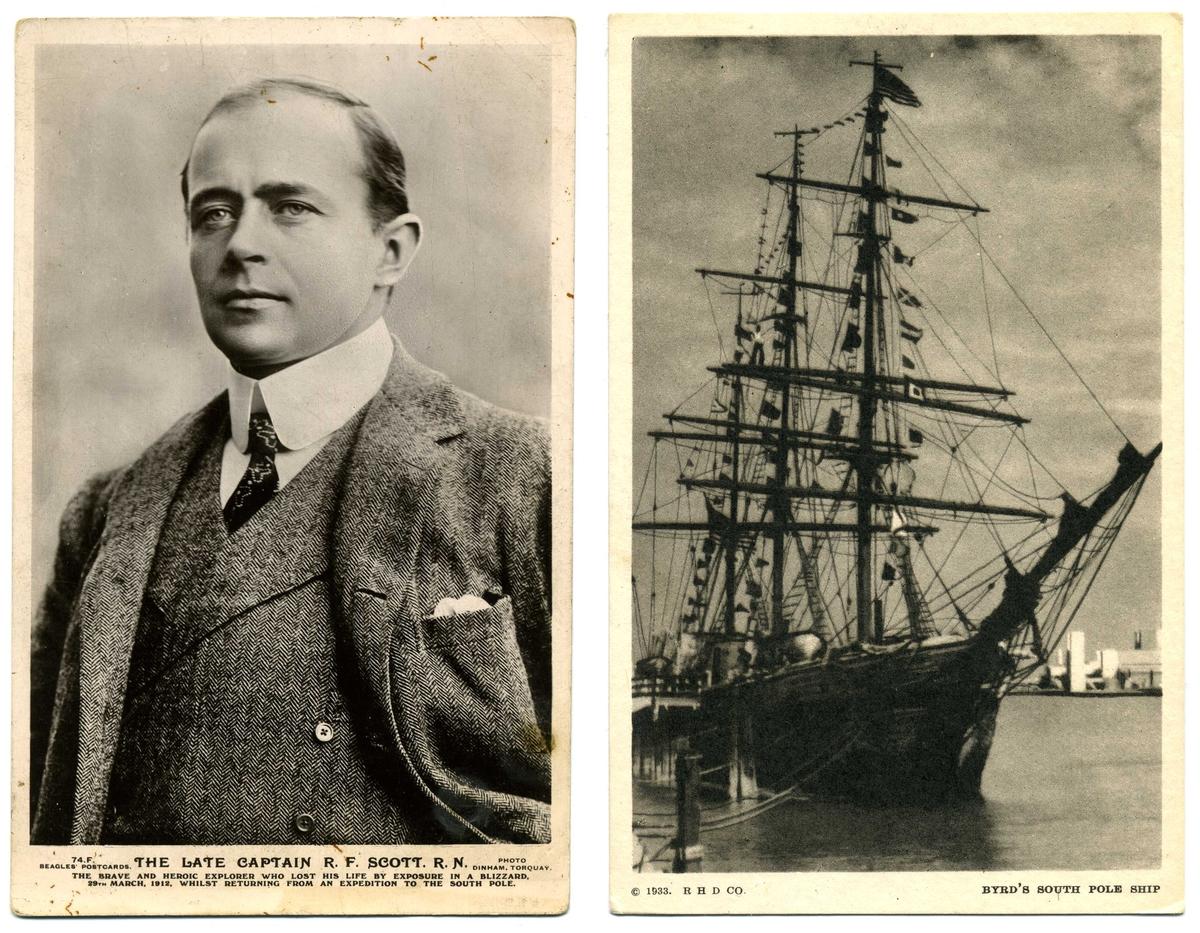 "Två vykort, porträtt av ""The late captain R. F. Scott. R.N."" respektive Richard E ""Byrd's South pole ship""."