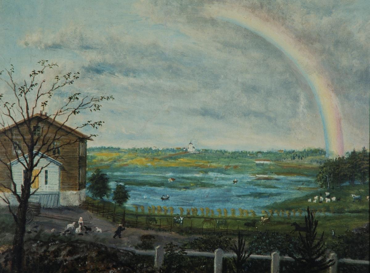 Kunst. Maleri av Mathias Stoltenberg. (født 1799, død 1871) Utsikt fra Diesen mot Vang kirke, malt 1869, 28,5x37,5, usignert.