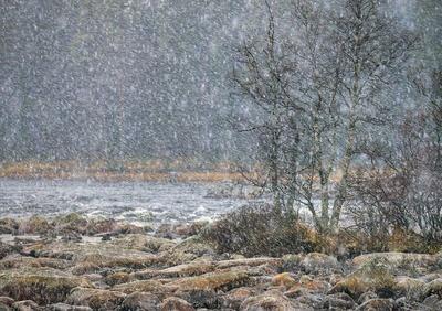 Snøen laver ned ved Isterfossen, Engerdal.
