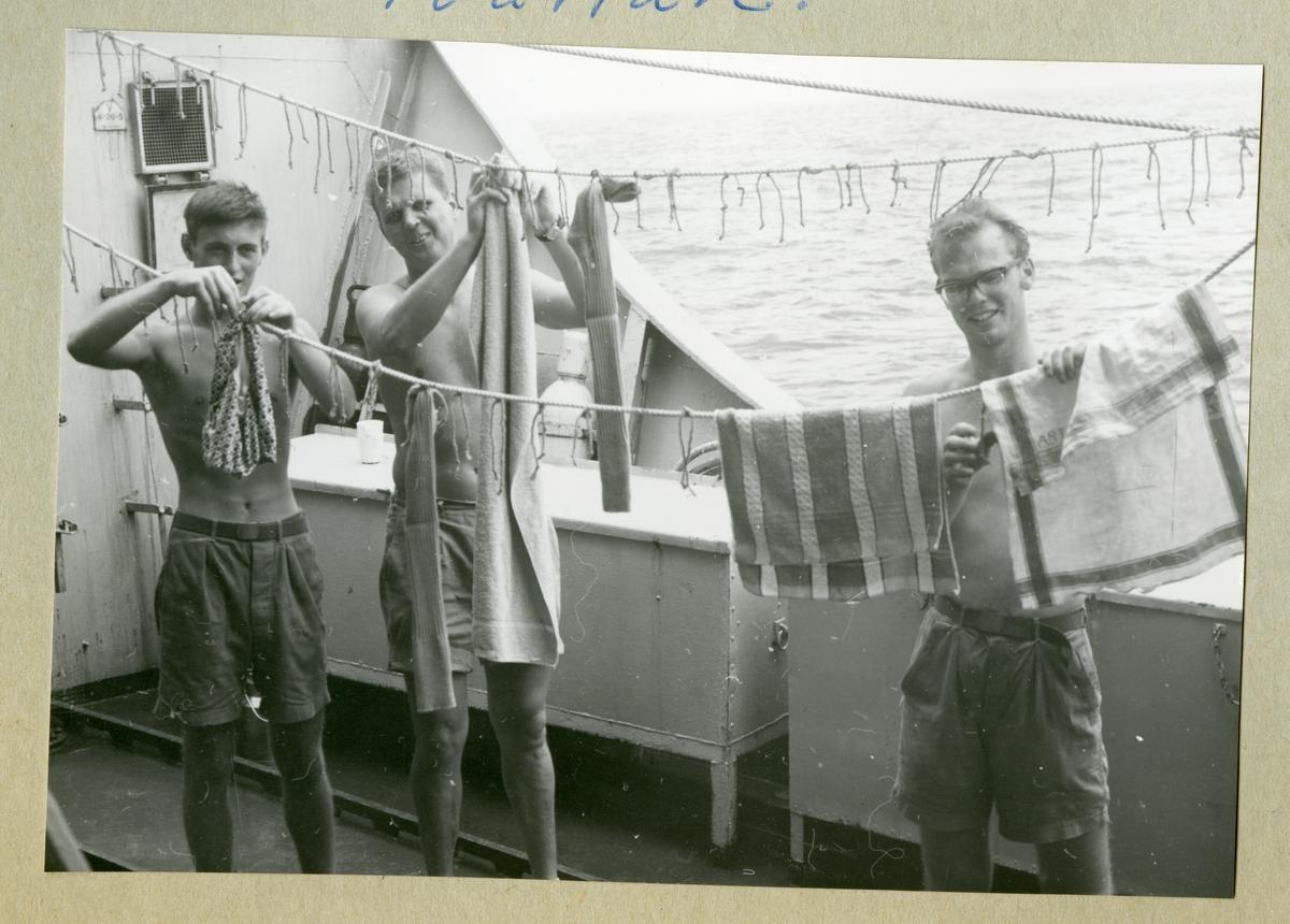 Bilden föreställer tre män som hänger tvätt över tvättlinor ombord på minfartyget Älvsnabben under långresan 1966-1967.