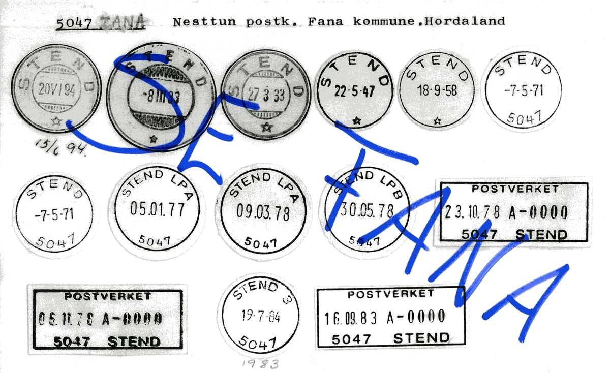 Stempelkatalog  5947 Stend, Fana kommune, Hordaland (Se 5047 Fana)