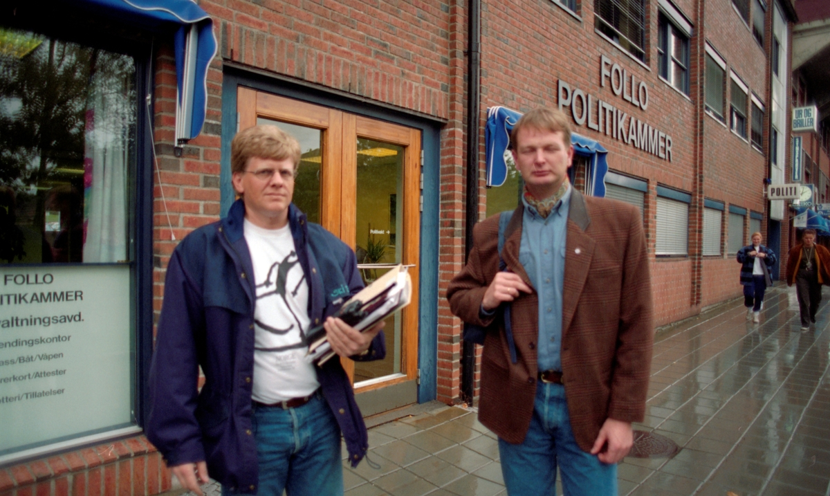 Gruppebilde av ledelsen i SPL. Politiaksjon for høyere lønn og streikerett. Endre Sæther, Harald Skjønsfjell, Bjørn Brekke og Jahn Thore Nerhus.