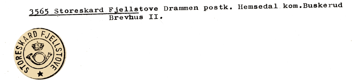 Stempelkatalog 3565 Storeskard Fjellstove, Hemsedal, Buskerud