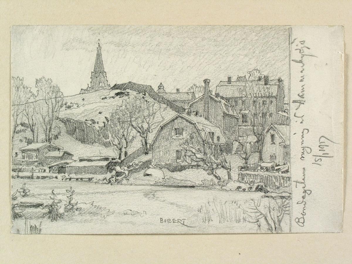 """Stockholm, Södermalm. """"Bondegatans mynning vid Hammarby sjö"""". Teckning av Ferdinand Boberg"""