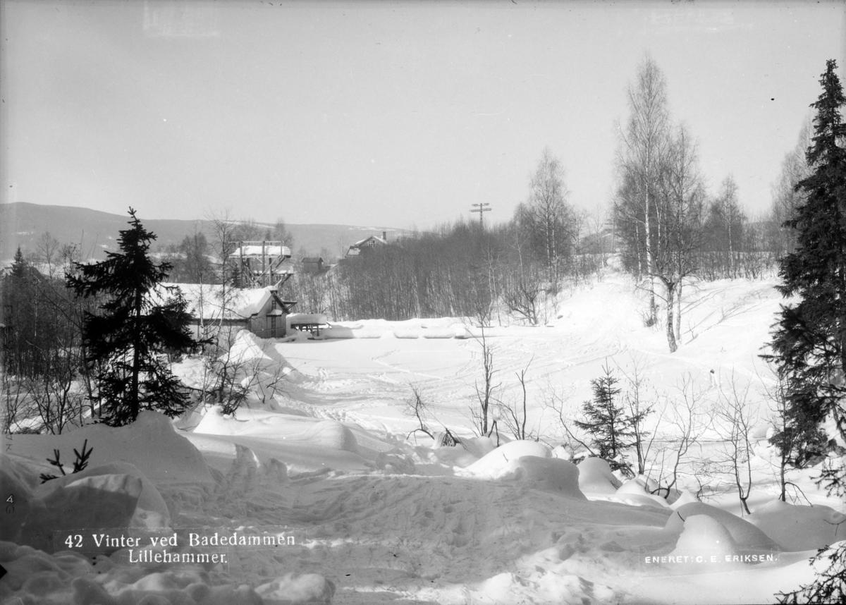 Vinter ved Badedammen i Mesnaelva.