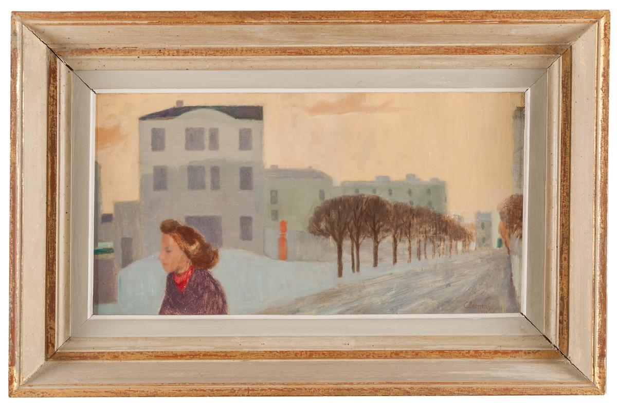 """Oljemålning, olja på duk """"Från Tranås"""". Vinterbild, gata med träd på sidan samt huskomplex, t.v. i förgrunden överkroppen av en barhuvad flicka med röd halsduk. Montering i originalram."""