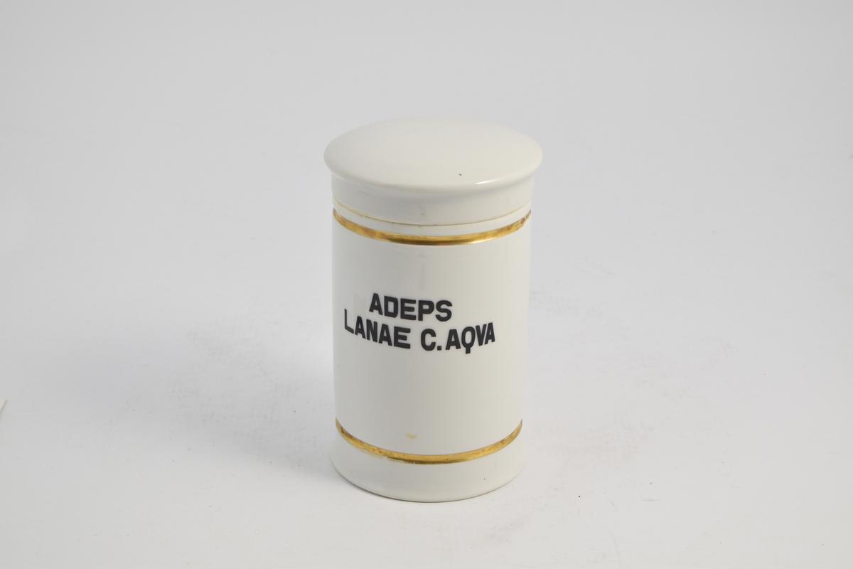 Sylinderformet porselenskrukke med porselenslokk. Hvit med gulldekor linje langs toppen og bunnen. Påtrykket med sort skrift Adeps lanae c. aqva, som tilsvarer Lanolin. Krukken ble brukt til oppbevaring av Lanolin.
