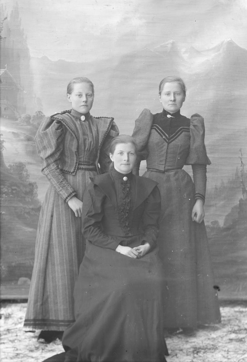 Portrett, helfigur, Thora Toksen med to kvinner.