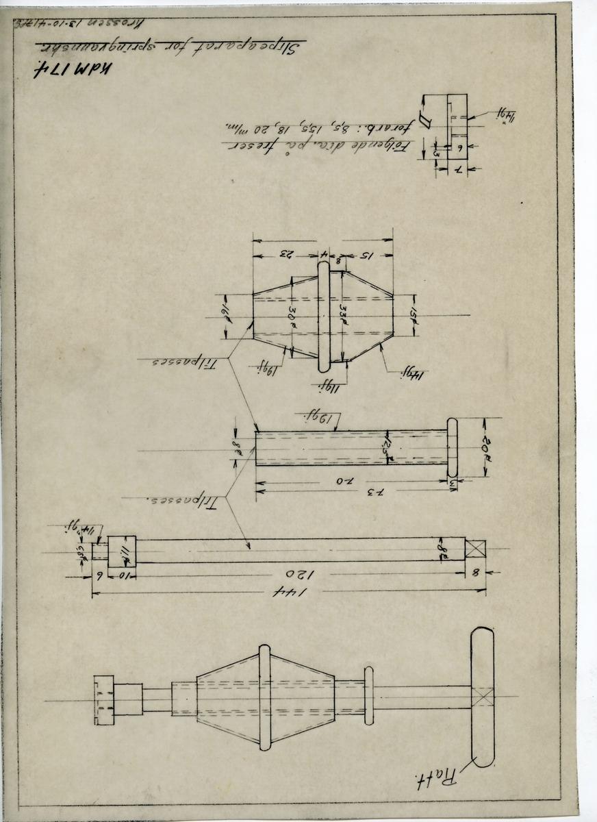 Håndtegnet arbeidstegning til slipeapparat for springvannskran. Opprinnelig tegningsnummer 174. Utarbeidet på Krossen i 1941.
