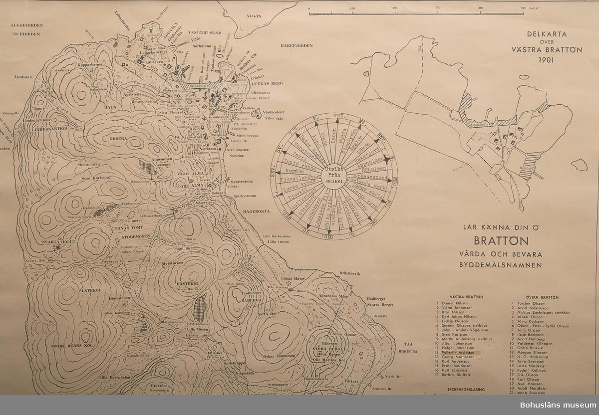 """Karta över Brattön med lokala platsbenämningar samt uppgifter om  naturtyper,anläggningar samt markägare. Text:""""Bygdemålskarta över Brattön. Ritad och sammanställd 1958 Harald  Karlsson"""",""""lär känna din ö BRATTÖN vårda och bevara bygdemålsnamnen"""",  """"Delkarta över Västra Brattön 1901"""",""""Delkarta över Östra Brattön 1894"""