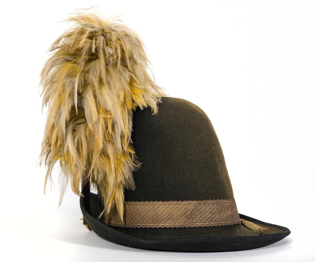 Hatt av svart kläde med hög kulle, breda brätten. Uppvikt framtill för fäste av gul sidenkokard och plym. Ofodrad. Svettrem av brunt läder. Bred guldgalon  med fransade  ändar runt hatten. Plym av gul hönsfjäder.