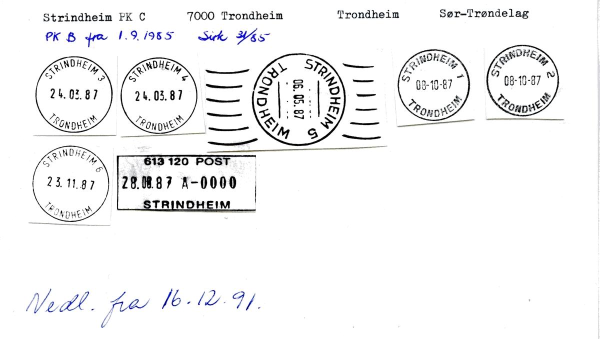 Stempelkatalog 7054 Strindheim, Trondheim, Sør-Trøndelag