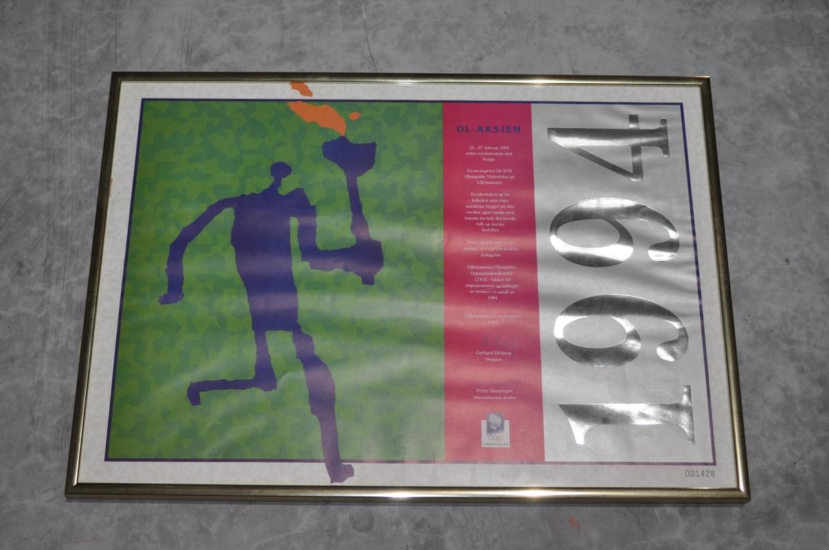 Innrammet bilde av OL-aksje  1994 nr. 001428