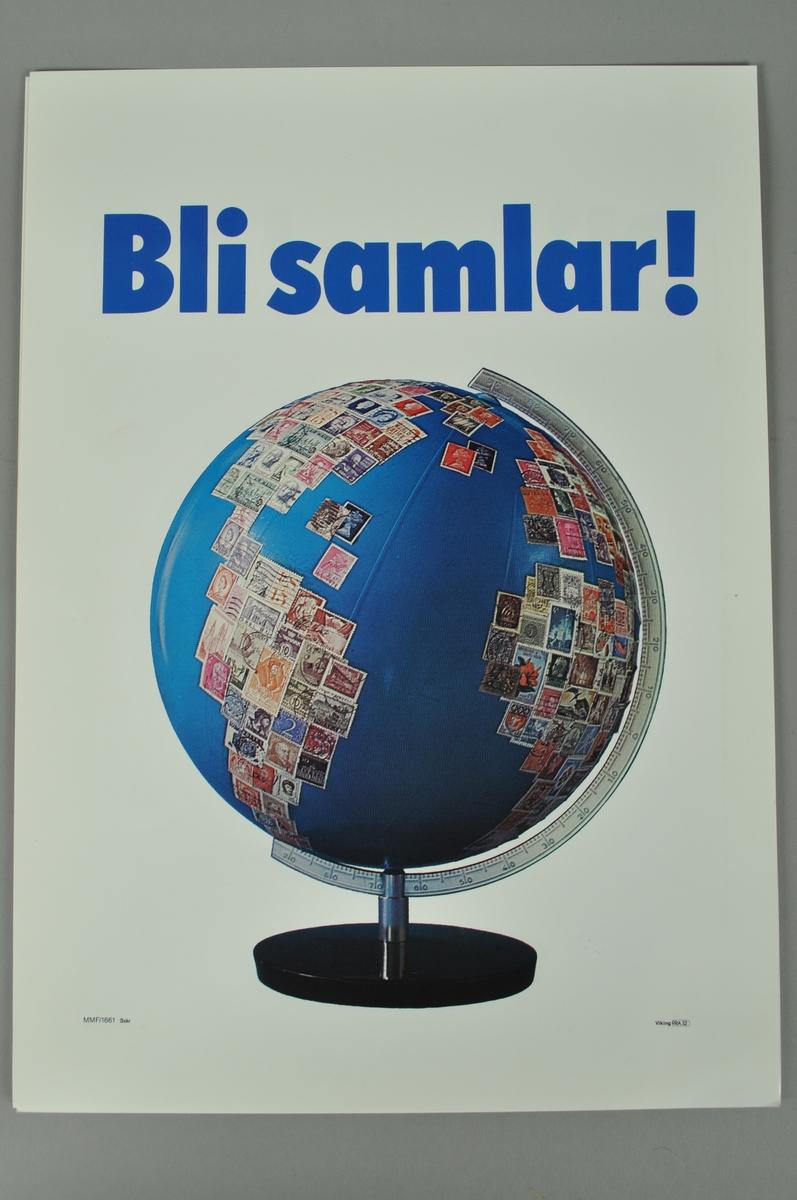 Reklameplakat med bilde og kort tekst.