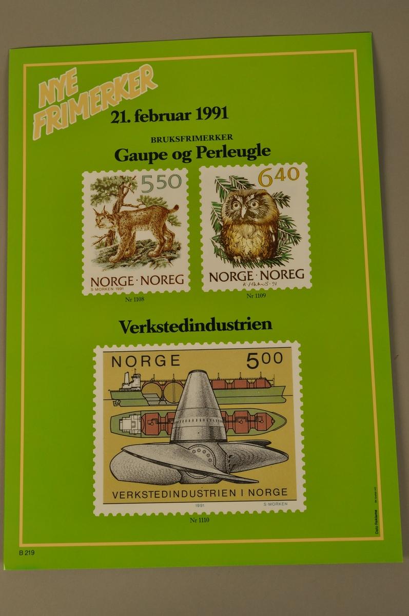 Salgsplakat fra Posten: Nye frimerker fra 21.2.1991. Bokmål og nynorsk.