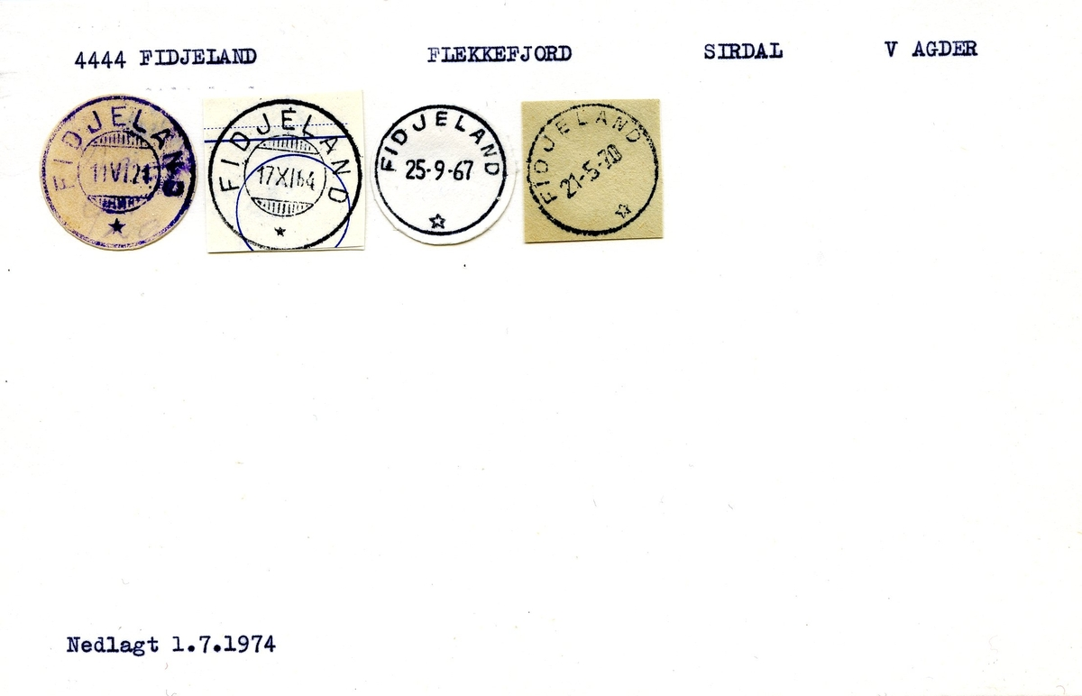 Stempelkatalog, 4444 Fidjeland, Flekkefjord, Sirdal, Vest-Agder