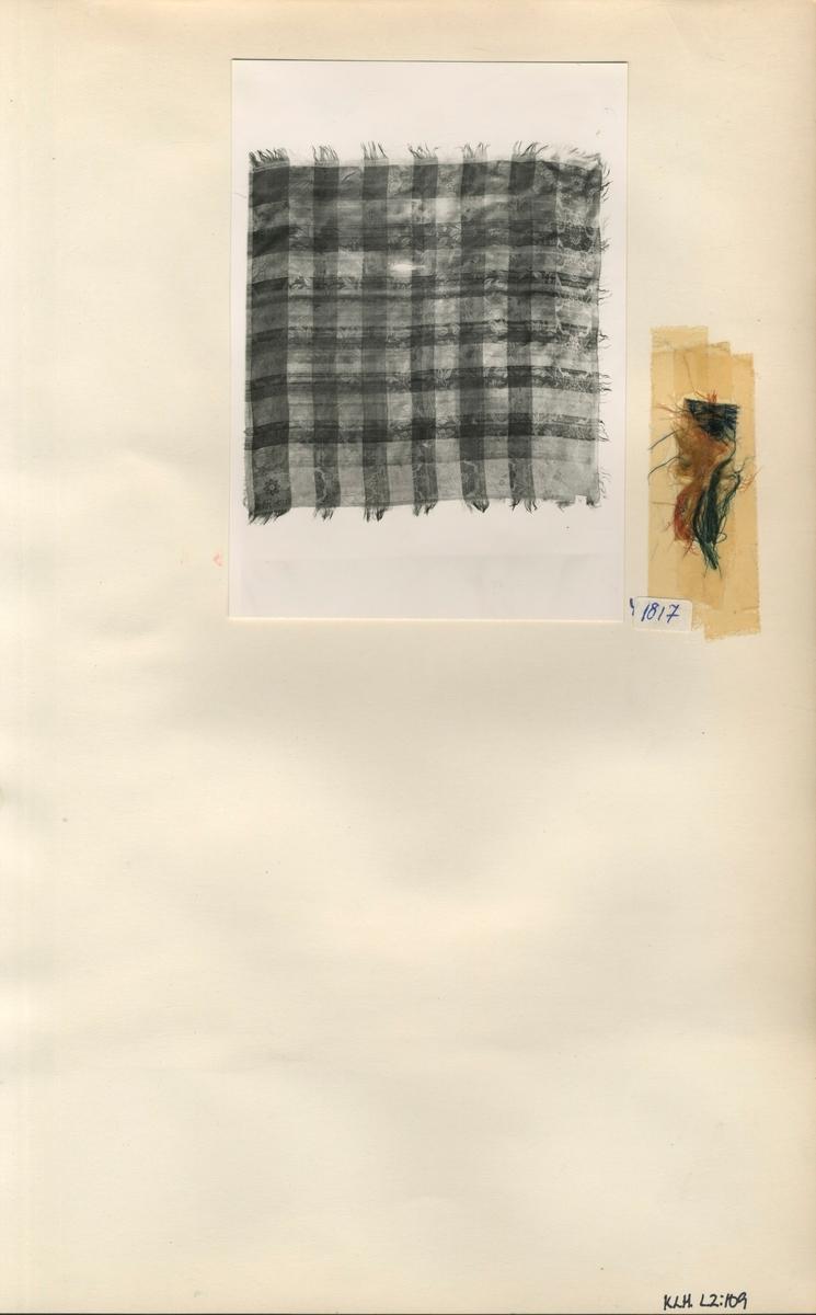 Kartongark med ett fotografi av sidenduk (huvudduk) och tygprov
