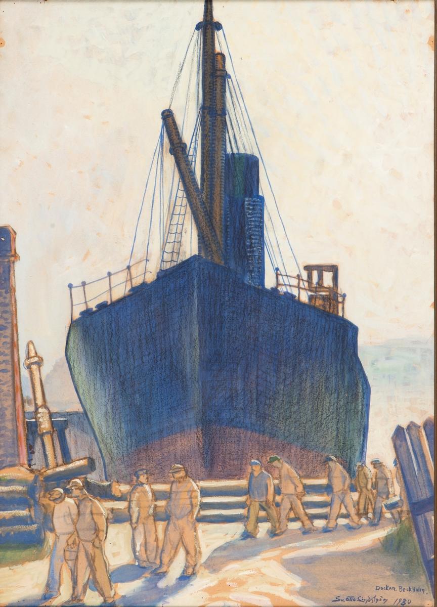 Motiv från Beckholmens docka. I bakgrunden ett större ångfartyg sett förifrån. I förgrunden ett antal arbetare på utgående från dockan.