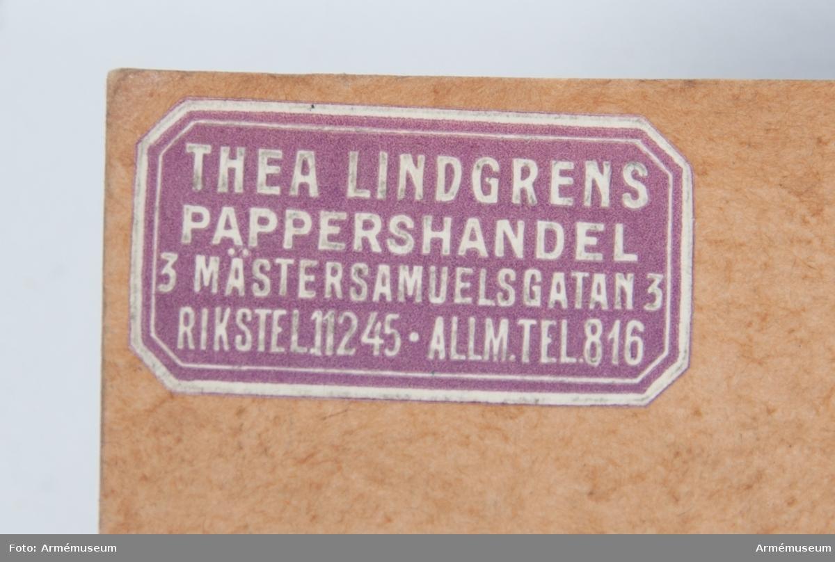 Grupp I VI. Inkom den 9/10 1953. Från Tygavdelningens konstruktionskontor. Gåva.