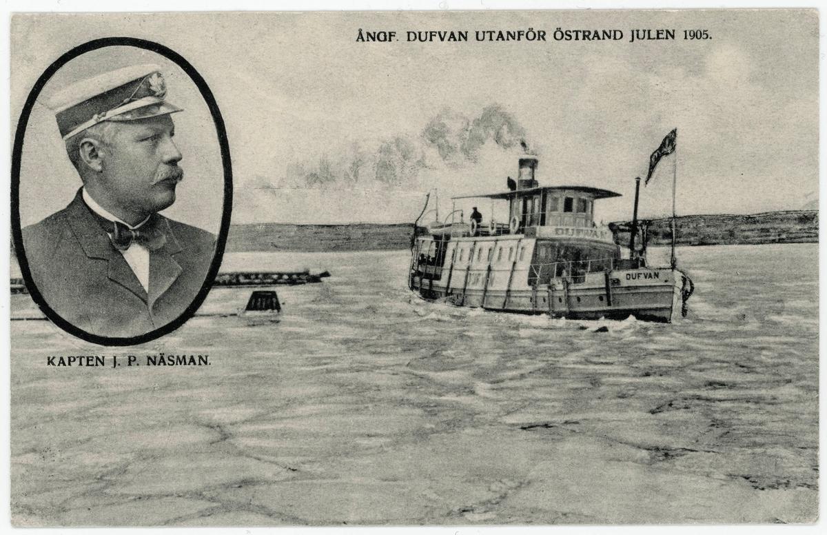 Passagerarångbåten Dufvan utanför Östrand julen 1905. Kaptenen J. P. Näsman är infälld i bilden. Båten hette tidigare Sjöfröken och köptes till Sundsvall 1900 av Gustaf Fröberg som lät modernisera henne. Det blev den första båt i Sundsvall som hade elektrisitet ombord. 1901 övertogs hon av Sundsvall-Klingerfjärdens ångfartygs AB och gick då mellan Sundsvall och Söråker. Den var känd för att dra upp stora svallvågor efter sig. Efter 16 år i Sundsvall såldes hon till Härnösand och byggdes om till bogserbåt. J P Näsman var kapten fram till 1916. Styrman mellan 1915-16 var J A Åström.