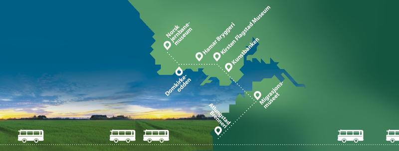 Veteranbussen fra Gustavsen Turbiler og Hamar og Omland Bussveteran vil kjøre i skytteltrafikk mellom de sju destinasjonene denne kvelden.