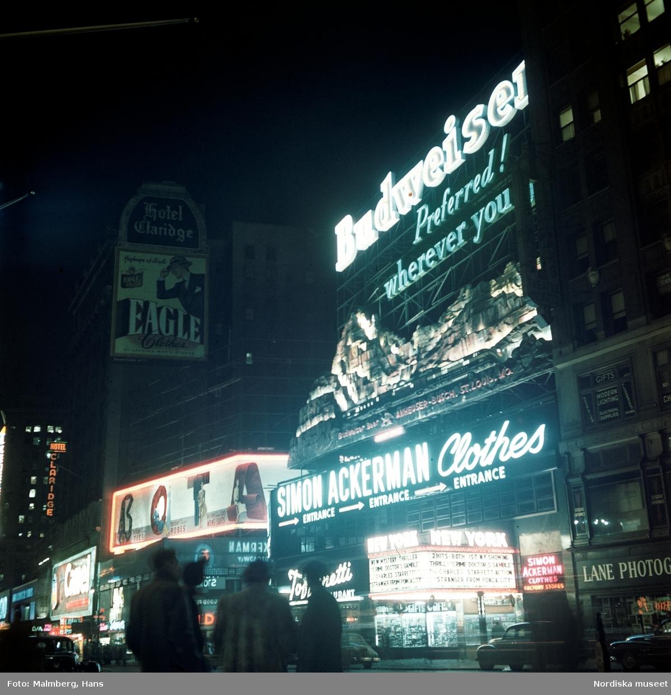 New York, USA. Gata i kvällsbelysning. Neonreklamskyltar för Budweiser etc.