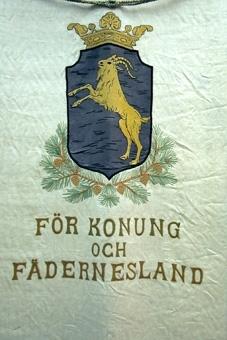 Gul bock (efter Suecia antiqua) på svart botten (krönt sköld). Skölden vilar på kottbärande tallkvistar.