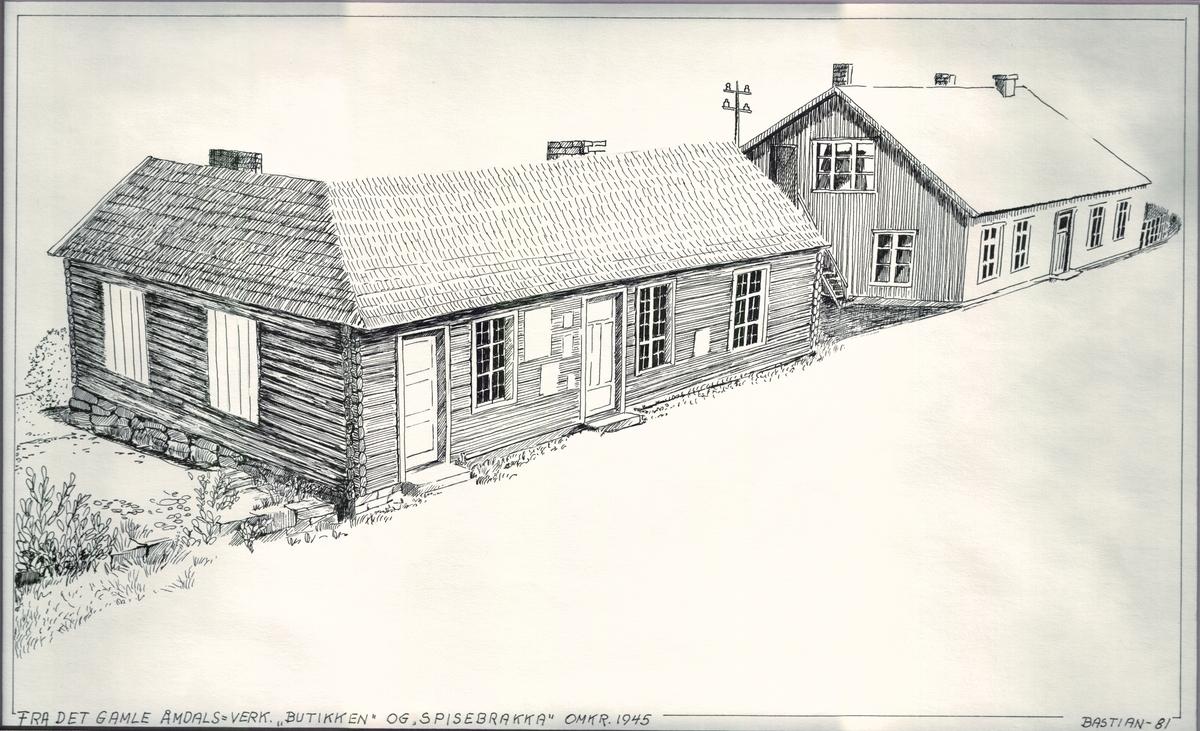 Bygningar ved Åmdals Verk ca år 1945.